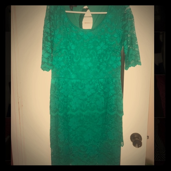 ABGDress Dresses & Skirts - ABGDress Teal Green Floral Laced Dress